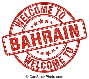 welcome to Bahrain red round vintage stamp
