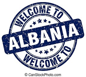 welcome to Albania blue round vintage stamp