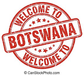 welcome to Botswana red round vintage stamp