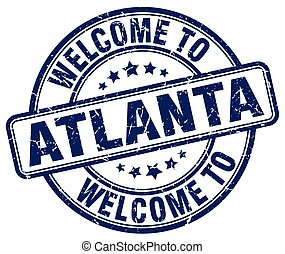 welcome to Atlanta blue round vintage stamp