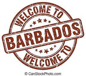 welcome to Barbados brown round vintage stamp