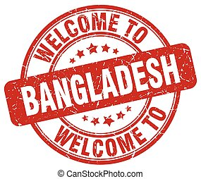 welcome to Bangladesh red round vintage stamp