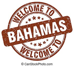 welcome to Bahamas brown round vintage stamp