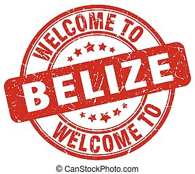 welcome to Belize red round vintage stamp