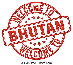 welcome to Bhutan red round vintage stamp