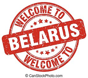 welcome to Belarus red round vintage stamp