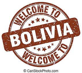 welcome to Bolivia brown round vintage stamp
