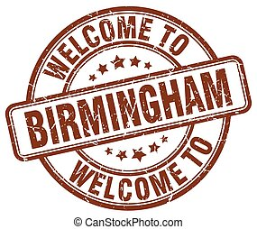 welcome to Birmingham brown round vintage stamp