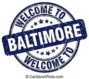 welcome to Baltimore blue round vintage stamp