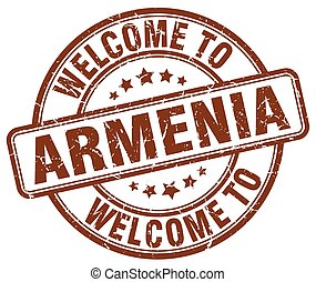 welcome to Armenia brown round vintage stamp
