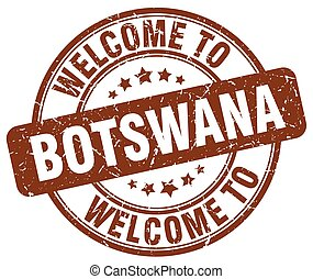 welcome to Botswana brown round vintage stamp