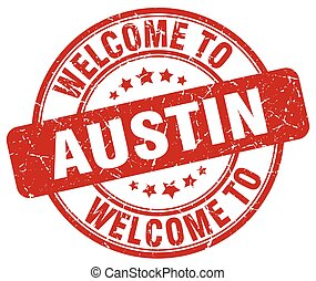 welcome to Austin red round vintage stamp