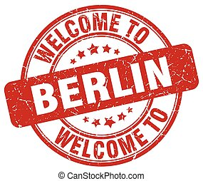 welcome to Berlin red round vintage stamp