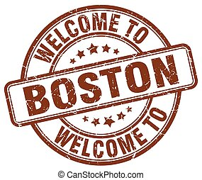 welcome to Boston brown round vintage stamp