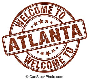 welcome to Atlanta brown round vintage stamp