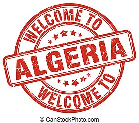 welcome to Algeria red round vintage stamp