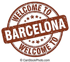 welcome to Barcelona brown round vintage stamp