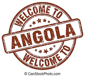welcome to Angola brown round vintage stamp