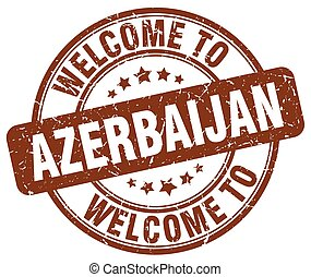 welcome to Azerbaijan brown round vintage stamp
