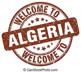 welcome to Algeria brown round vintage stamp