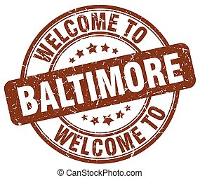 welcome to Baltimore brown round vintage stamp