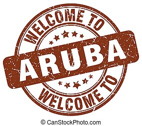 welcome to Aruba brown round vintage stamp