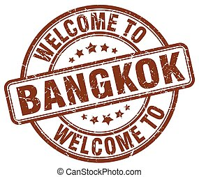 welcome to Bangkok brown round vintage stamp