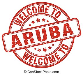 welcome to Aruba red round vintage stamp