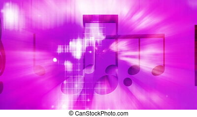 Music notes color beams looping animated background