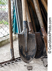 old shovels rakes Tool for working in the garden