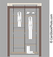 Cloakroom Cupboard Drawing - Architectural drawing of...