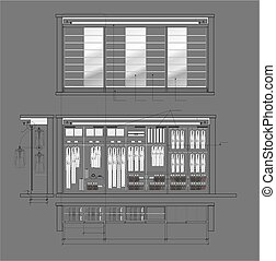 03_Cloakroom Cupboard Drawing - Architectural drawing of...