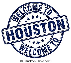 welcome to Houston blue round vintage stamp