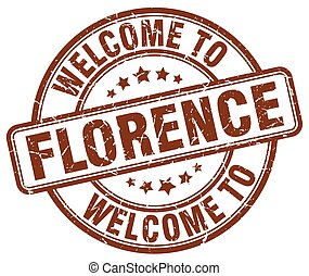 welcome to Florence brown round vintage stamp