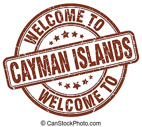 welcome to Cayman Islands brown round vintage stamp