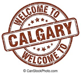 welcome to Calgary brown round vintage stamp