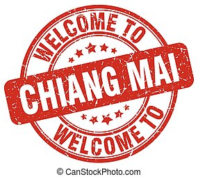 welcome to Chiang mai red round vintage stamp