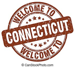welcome to Connecticut brown round vintage stamp