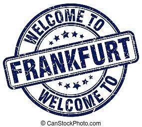 welcome to Frankfurt blue round vintage stamp