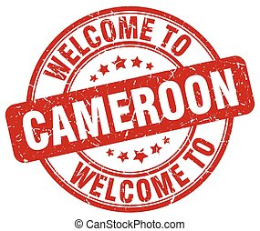 welcome to Cameroon red round vintage stamp