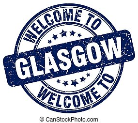 welcome to Glasgow blue round vintage stamp
