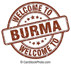 welcome to Burma brown round vintage stamp