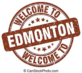 welcome to Edmonton brown round vintage stamp