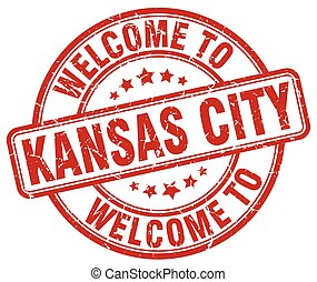 welcome to Kansas City red round vintage stamp