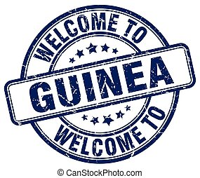 welcome to Guinea blue round vintage stamp