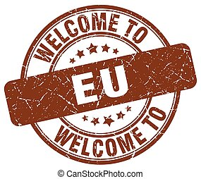 welcome to eu brown round vintage stamp