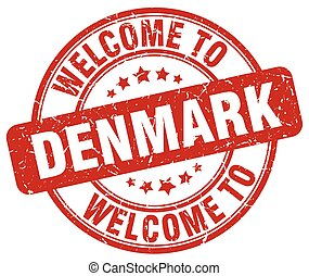 welcome to Denmark red round vintage stamp