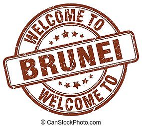 welcome to Brunei brown round vintage stamp