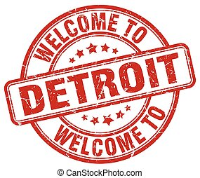 welcome to Detroit red round vintage stamp