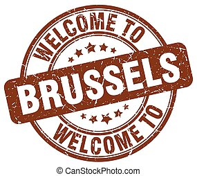 welcome to Brussels brown round vintage stamp